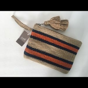 J. Jill Burlap Striped Clutch Wristlet